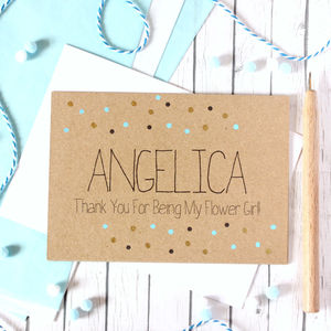 Personalised Flower Girl Thank You Card Gold Dots