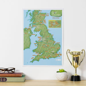 Personalised Scratch Off UK Golf Courses Print - gifts for fathers