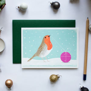 Christmas Robin Greeting Card Single And Boxed
