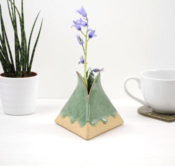 Ceramic Pyramid Vase With Drippy Glaze