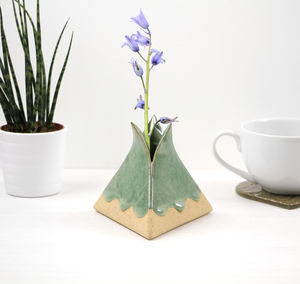 Ceramic Pyramid Vase With Drippy Glaze - decorative accessories