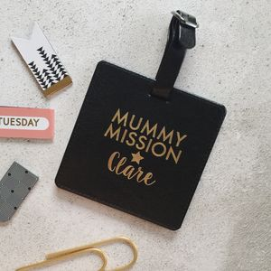 Personalised Mum On A Mission Luggage Tag - luggage tags
