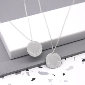 Sterling Engraved Coordinates Disc Necklace