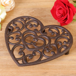Sixth Anniversary Cast Iron Traditional Heart Trivet - dining room