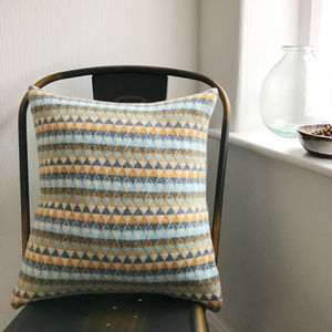 Mustard And Grey Knitted Scandi Cushion - cushions