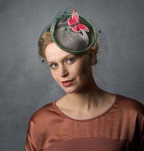 Green Birdcage Veil Butterfly Hat - hats & fascinators