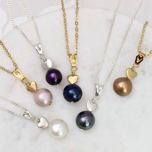 Single Pearl Pendant With Silver Or Gold Heart - necklaces & pendants