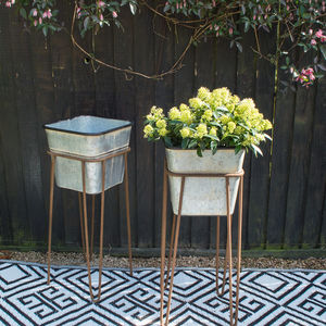 Zinc Effect Planter With Stand