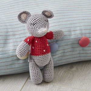 Crochet Mouse Baby Rattle