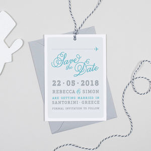 Airline Luggage Tag Wedding Save The Date Card
