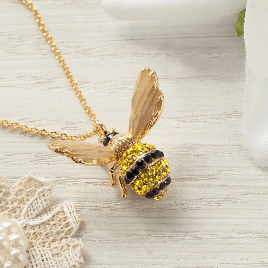 rose bee pendant liberty bumble uk gold london necklace bumblebee vermeil