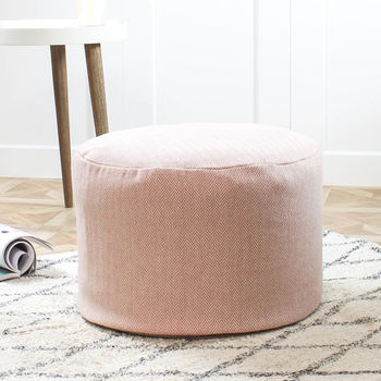 Blush Pink Wool Foot Pouf