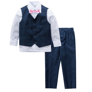 Ring Bearer Boy's Wedding Navy Slim Fit Suit - clothing