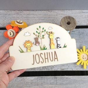 Personalised Jungle Door Plaque - gifts for children