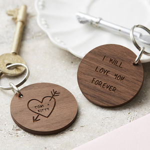 Personalised Carved Heart Keyring - engagement gifts