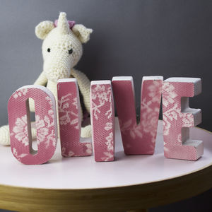 Personalised Lace Print Concrete Letters - love tokens