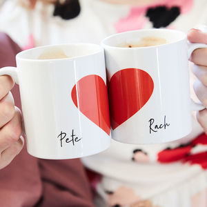 Personalised Love Heart Mug Set - gifts for her