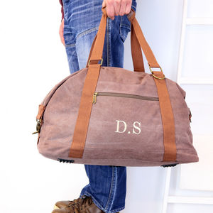 Personalised Vintage Canvas Weekend Holdall Bag