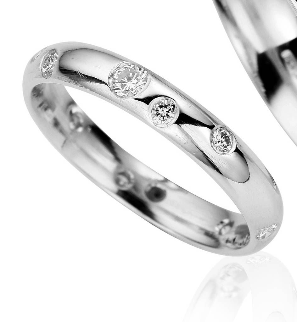 wedding white stackable band v diamond bands ring gold curved shape