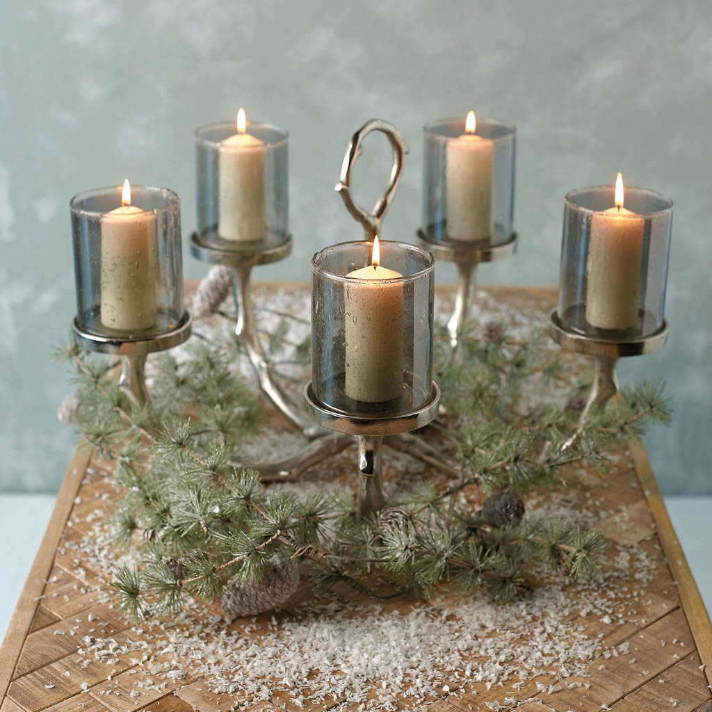 Silver Timber Five Glass Votive Candleabra