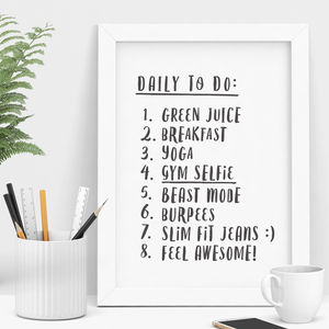 'Daily To Do List' Personalised Print - gifts for her