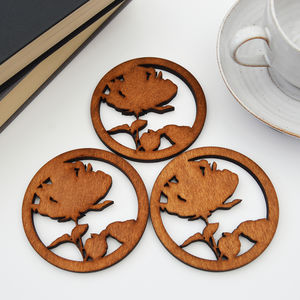 Wooden Drinks Coasters With Rose Design, Set Of Four