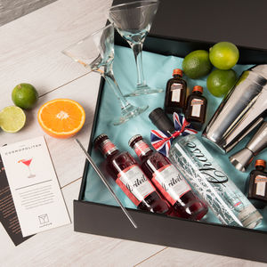 Cosmopolitan Cocktail Gift Box And Two Martini Glasses - gifts for her