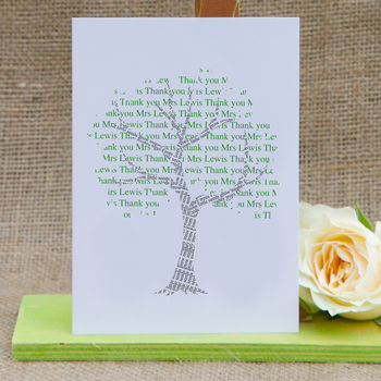 'Tree' Personalised Thank You Teacher Card With Seeds