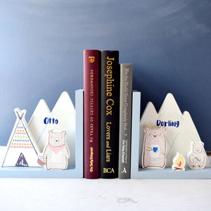 Personalised Bear Kids Bookends - living room