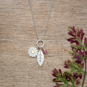 Daisy And Leaf Pendant In Solid Silver And 18ct Gold - necklaces & pendants