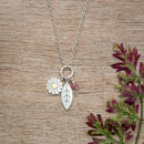 Daisy And Leaf Pendant In Solid Silver And 18ct Gold