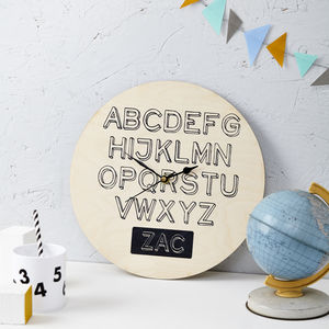 Personalised Alphabet Nursery Clock