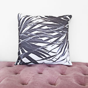 Black And White Palm Leaf Print Cushion Cover
