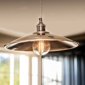 Moderne Large Antique Silver Tapered Shade And Fitment