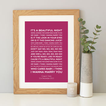 personalised first dance song lyrics print by hope and love ...