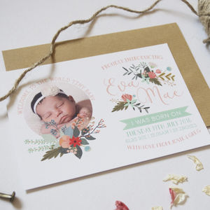 Personalised New Baby Announcement Postcards