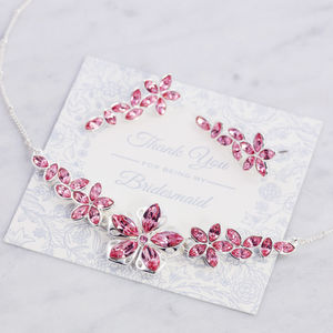 Bridesmaid Blossom Necklace And Earring Set