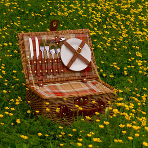Personalised Amber Tartan Chiller Picnic Hamper For Two - storage & organisers