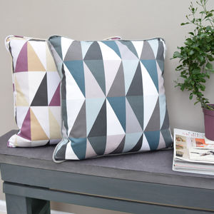 Luxury Geometric Triangles Handmade Cushion