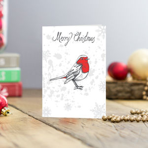 Christmas Robin Greetings Cards Pack Of Five
