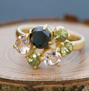 Black Diamond Cluster Ring - rings