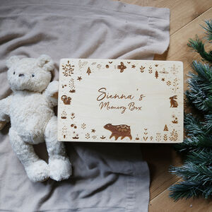 Personalised Memory Box With Woodland Animal Design