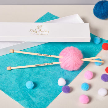 Personalised Knitting Needles With Box