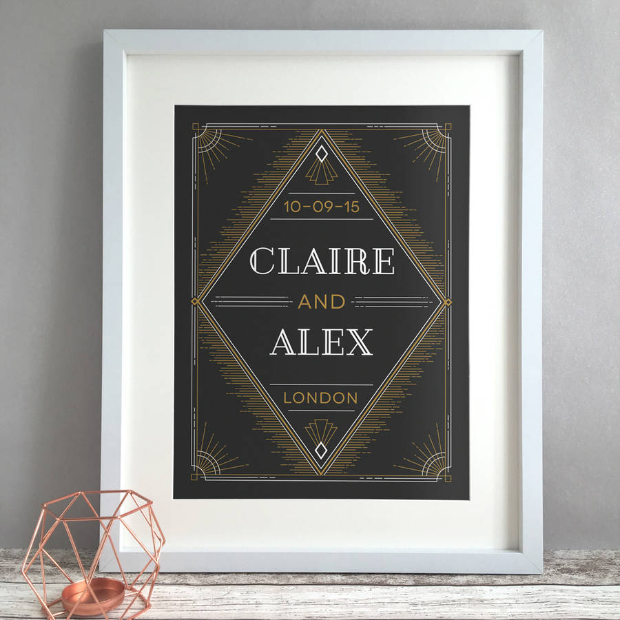 Personalised Art Deco Wedding Or Anniversary Gift Print