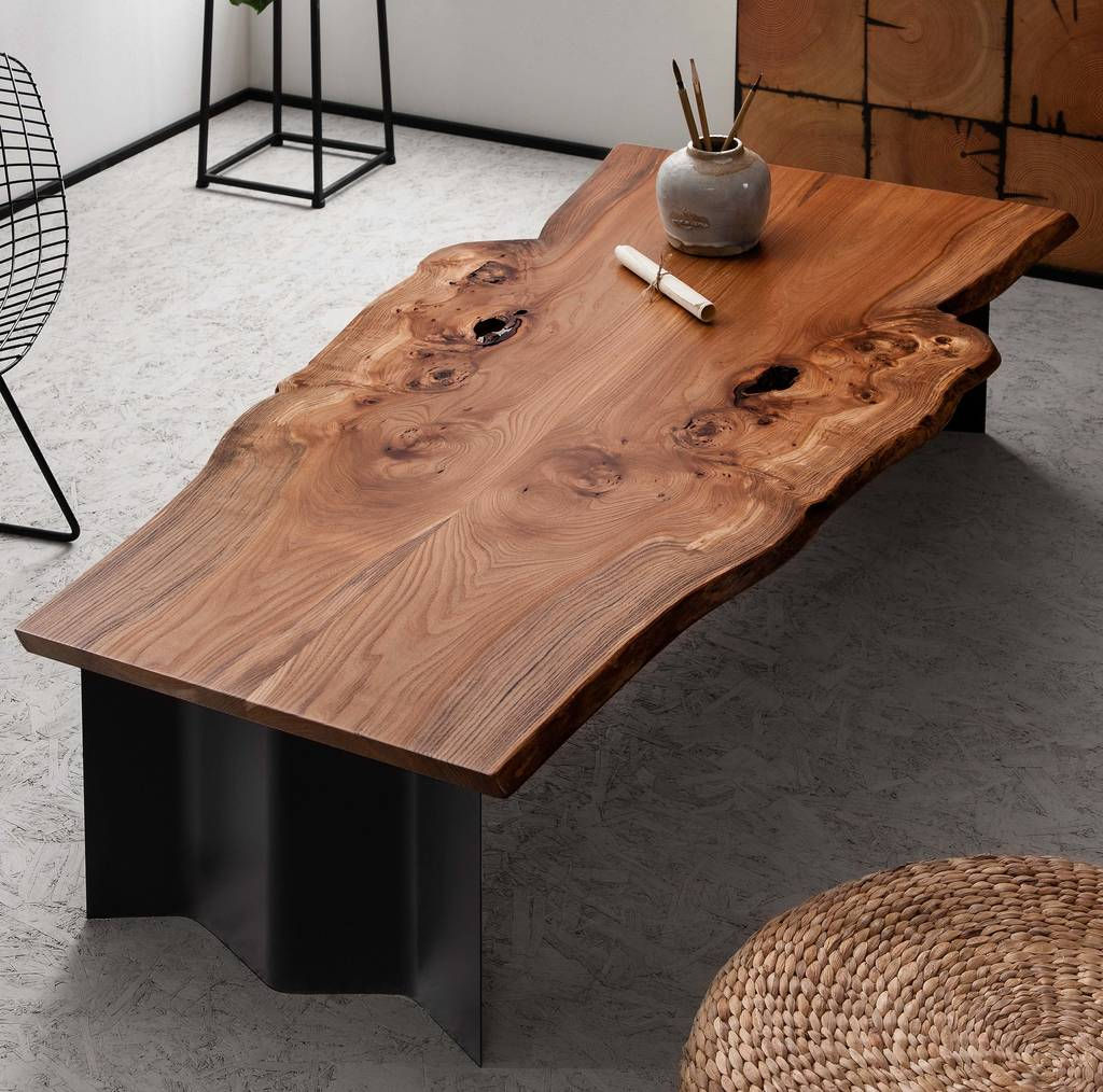 Natural Live Edge Wood Coffee Table On Wave Base By