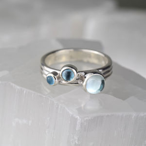 Aqua Blue Topaz Sterling Silver Nebula Ring