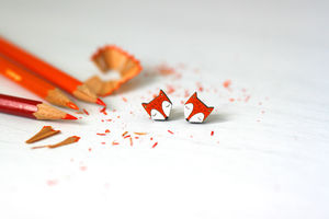 Red Fox Stud Earrings - earrings