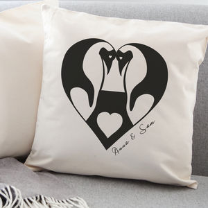 Personalised Penguin Love Cushion - 2nd anniversary: cotton