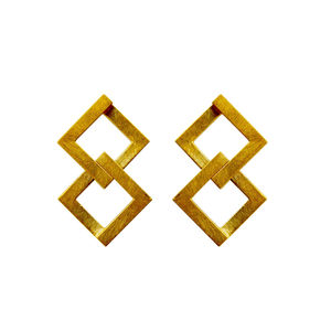 Geom Balance Earrings Gold - earrings