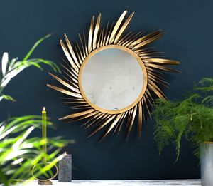 Large, Gold Feathered Sunburst Mirror - mirrors